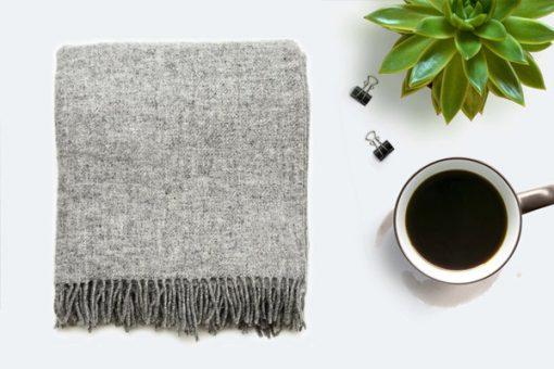 Light Grey Throw Blanket, 100% Wool - Light Grey Sofa Throw, Light Grey Bed Throw, Light Grey Wool Blankets & Throws, Free UK Delivery