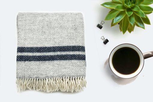 Grey Navy Throw Blanket, 100% Wool - Grey Navy Sofa Throw, Grey Navy Bed Throw, Grey Navy Wool Blankets & Throws, Free UK Delivery