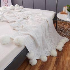 Pom Pom Grey Throw Blanket, Grey Sofa Throw, Grey Bed Throw, Grey Blankets & Throws, Free Delivery