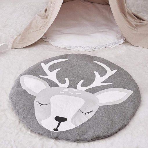 Baby Blanket Cotton, Baby Play Gym Mat, Activity Gym, Floor Mat for Baby & Toddler, 90cm Diameter, Soft Sleeping Mat, Grey Deer Playmat