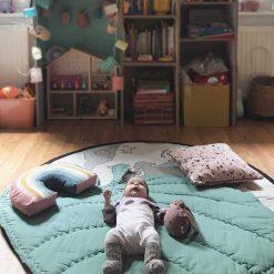 Super Soft Nursery Green Leaf Baby Cushion, Leaf Floor Mat, Padded Floor Mat, Kids Floor Mat, Baby Cushion, Kids Room Decor, 100cm x 100cm