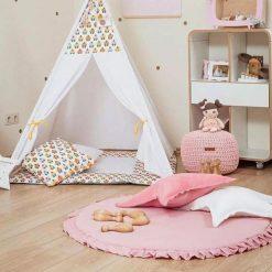 Super Soft Nursery Pink Baby Cushion, Round Floor Mat, Frill Cushion, Kids Floor Cushion, Baby Play Cushion, Kids Room Decor, 100cm x 100cm