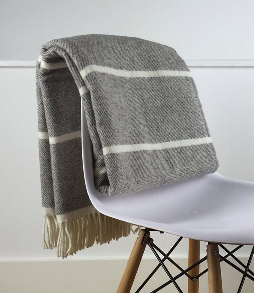 Grey and Natural Beige Throw Blanket, 100 Percent Wool - Grey Sofa Throw, Grey Bed Throw, Grey Wool Blankets & Throws, Free Delivery